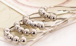 Wholesale New Arrive Polished Satin Nickel Roller ball Shower Curtain Rings Curtain Hooks