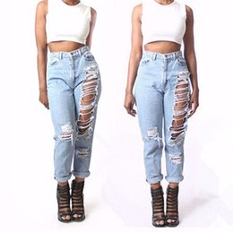 Hot explosion models in Europe and America women Jane hole jeans loose straight jeans nine points jeans 206#