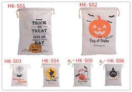 6 style Halloween Large Canvas bags cotton Drawstring Bag With Pumpkin devil spider Hallowmas Gifts Sack Bags