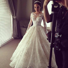 2016 Ball Gown Wedding Dresses with Long Sleeve Crew Neck Floral Lace Dubai Steven Khalil Briadal Gowns