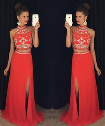 Latest High Neck Two Pieces Chiffon Prom Dresses Coral Floor-length A-line Arabic Crystals Elegant Party Evening Dresses Evening Gowns