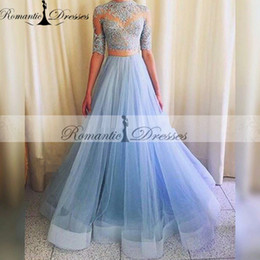 Vestidos De Formatura Tulle 2 Pieces Prom Dresses Long Two Pieces Blue Half Sleeves Sheer Lace Top Evening Dresses