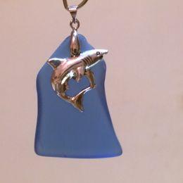 "Shark Charm & 2"" Royal Blue Beach Sea Glass Bead ~ Handmade Jewelry Necklace Pendant JCT ECO®"
