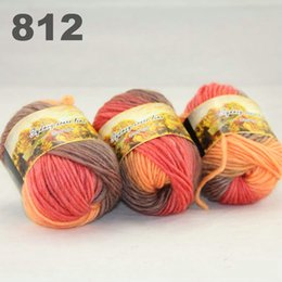 colorful hand-knitted wool line segment dyed coarse lines fancy knitting hats scarves thick line Camel Orange Bisque 522-812