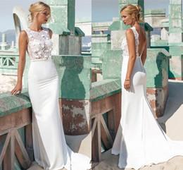 2017 Summer Beach Mermaid Wedding Dresses Jewel Sleeveless Illusion Bodice 3D Flowers Lace Satin Custom Made Backless Wedding Gowns