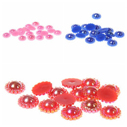 12mm 1000pcs Fake Sunflower Half Round Pearls 8 AB Colors Imitation Glue On Resin Beads Appliques For Wedding Dress Decoration