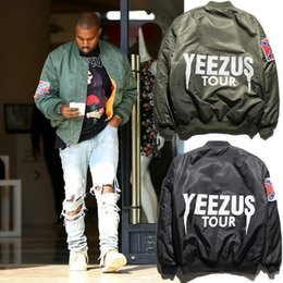 Wholesale KANYE WEST MA1 BOMBER Jackets Men s Autumn Winter Motorcycle Pilot Coat Couple Jacket American Civil War Flag hip hop Jacket JC05