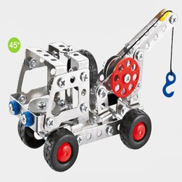 Wholesale New toys Metal assembled intelligence self loading in trucks iron eductional children toys giift hand eye coordination