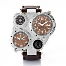 Multi Function Sport Watch for Men Oulm Quartz watch Compass Thermometer Watch Quartz Leather Belts Strap Wristwatches