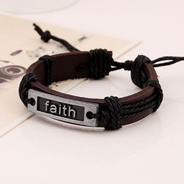hot sale Braid Bracelet Faith Infinite Vintage Style new Leather Bracelets Christmas Party Gift free shipping