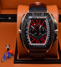 Relojes de cuarzo rojo verde en Línea-La línea roja del conquistador de los hombres de lujo nuevos cronómetro de la parada del cuarzo del verde de la noble mira los hombres casuales del calendario del dial de los relojes Cuero Relojes de pulsera