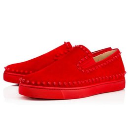 Wholesale Luxury Designer Red Bottom Loafers For Men Women Suede Leather Slip On Platform Sneakers Casual Spikes Wedding Party Flats Men Shoes