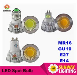 Wholesale Dimmable CREE E14 GU10 MR16 E27 cob Led Bulb Light W W W Led Spot Bulbs down lights Lamp AC V V