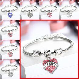 Wholesale 45 types Diamond love Heart bracelet crystal family member Mom Daughter Grandma Believe Faith Hope best friend bangle cuff for women
