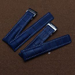 New 22mm 24 mm Men`s Watch Band Genuine Leather Alligator Grain Blue white stitched Watch Straps for Automatic mechanical watch Sport Hot