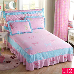 Wholesale Pink blue printing Princess Lace Bed Skirt Mattress Cover Twin Full Queen King bedskirts Cotton Bedskirt Bedspread Bed Sheet Skirts