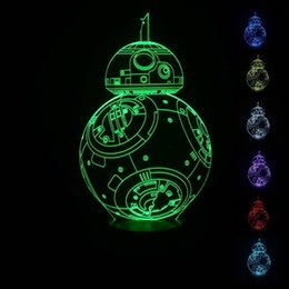 Wholesale 3d Lamp Star War Fuwa Force Awaken Bb Night Color Change Best Gift Night Light LED Furnish Desk Table Lighting Home Decoration Toys