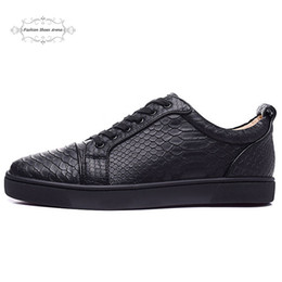 MFF996A Size 35-47 Men Women Black Snake Print Leather Low Top Lace Up Fashion Red Bottom Sneakers, Unisex Luxury Brand Comfort Casual Shoes