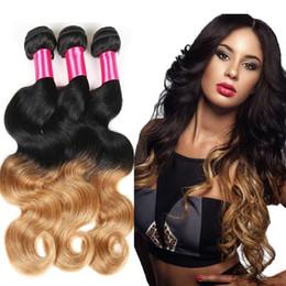 Ombre Hair Extensions Brazilian Virgin Hair Body Wave 4Pcs Two Tone Ombre Brazilian Hair Bundles 7a Grade 100% Human Hair Weave