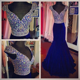 Wholesale Actual Image Royal Blue Mermaid Party Dresses Evening Wear V Neck Cap Sleeves Beaded Crystal Satin Full Length Prom Formal Gown Party