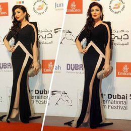 2016 Black Dubai Evening Dresses V- Neck Mernaid Jersey and Tulle Sweep Train Women Formal Party Dresses