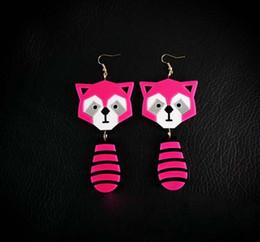 Fashion Cute Pink Long Acrylic Bear Drop Earrings For Women Punk Night Club Jewelry Accessories Wholesale