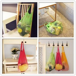 Wholesale 150pcs New Multifuction Pc Fruits Vegetable Shopping String Cotton Net Mesh Bag For Sun Clothes Toys Basketball Storage Bags ZA0737