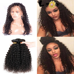 Wholesale 360 Lace Frontal Closure With Bundles Kinky Curly Virgin Brazilian Human Hair Weaves With Ear to Ear Full Lace Band Frontals