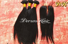 Wholesale One middle part quot x quot top lace closure with bundles Silky Straight hair extension weft human hair weave Brazilian Hair