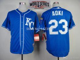 Wholesale 2015 New Kansas City Royals Authentic Nori Aoki Alternate Cool Base Jersey w World Series Patch