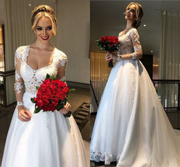 Long Sleeves Ball Gown Wedding Dresses Appliques Lace Satin Custom Made Backless Wedding Gowns Modest Chapel Bridal Dresses