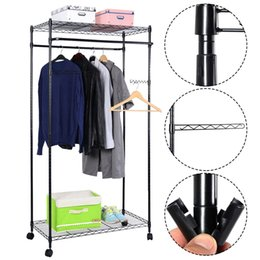 New Bronze 2-Tier Rolling Clothing Garment Rack Shelving Wire Shelf Dress US