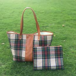 Venta al por mayor Blanks Sanded Tela Plaid Tote Bag con PU Faux cuero maneja Tartant PU bolsa bolso suave DOM405 desde monedero de cuero de imitación al por mayor fabricantes