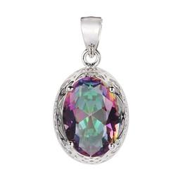 Rainbow Mystic Topaz Cubic Zirconia 925 sterling Silver Pendants Wholesale S--3713 Romantic Style Women Jewelry Gift Engagement Wedding Cute