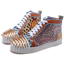 Embroidery flat shoes à vendre-Luxe France Parti Robe or Spikes No Limit broderie Strass High Top Sneaker Chaussures plates avec des hommes / femmes Walking Casual Shoes 35-46