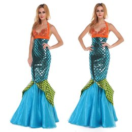Wholesale Sexy Movies Free - Woman Mermaid Cartoon Costume Fairy Tale Long Dress Halloween Carnival Party Dress Sexy Uniforms Character Costumes Wholesale Clothes
