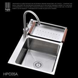 Wholesale Han Pai Stainless Steel Double Bowel Thicken Square Brushed Artesanato Kitchen Sink Faucet Fregadero HPC05A