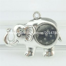 Wholesale 16762 PC Alloy Antique Silver Vintage Animal mm Setting Tray Elephant Pendant