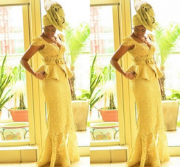 Aso Ebi Style African Women Prom Dresses Yellow Lace Mermaid African Prints Braids Nigerian Evening Gowns Ghanaian Fashion Prom Dresses