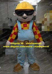 Wholesale Great Cuticolor Bob The Builder Architect Constructor Mascot Costume Cartoon Character Mascotte Blue Pants Brown Shoes ZZ631 FS