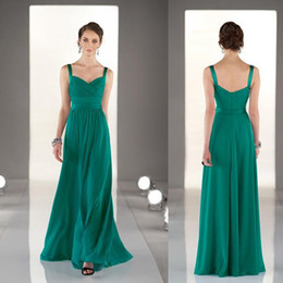 2016 Classic Bridesmaid Dresses Long Formal Straps Full Length Chiffon Cheap High Quality Hunter Green Bridesmaids Gowns Prom Party Wear