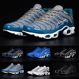 Wholesale 2016 New Max TN Men s Running Shoes Nanotechnology KPU Material Classical Durable Air Sport TN Sneakers Eur Gray Blue White Kids shoes