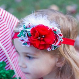 Christmas Children Hair Accessories Kids Flower Hair Bands Feather Headband Baby Hair Accessories Girls Headbands Childrens Accessories