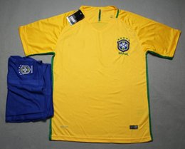 Wholesale 16 Brazil home yellow football uniform Brasil thai quality soccer jersey men s short sleeve sports uniform athletic outdoor soccer wear