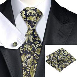 Men's Blue Yellow Wedding Tie Stylish Silk Necktie Cufflinks Hanky Jaquard Woven New Arrival Floral Tie N-1097