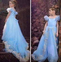 Descuento cenicienta niños vestido del partido Cosplay del traje de la princesa de los vestidos de los niños de las muchachas del vestido de lujo del partido de Cenicienta Hada de la espina de pescado del partido del vestido de cola de milano de los niños del vestido de bola azul