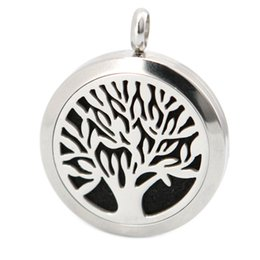 Wholesale 10pcs magnet mm plain tree of life Aromatherapy Essential Oil surgical Stainless Steel Perfume Diffuser Locket Necklace with chain inclu