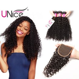 UNice Hair Brazilian Curly Wave 3 Bundles With Closure Free Part Hair Weave Bundles Virgin Human Hair Three Middle Part Weaves With Closure