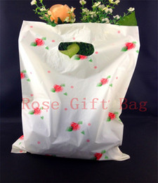 25*35cm Pink Rose Print White Large Plastic Shopping Bags With Handle,50pcs Thick Boutique Clothes Gift Packaging Plastic Bags