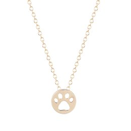 Wholesale 10pcs Hot Creative Dog Paw Print Dye Cut Coin Shaped Animal Necklace Best Pendant Minimalist Jewelry Gift for Girls and Women